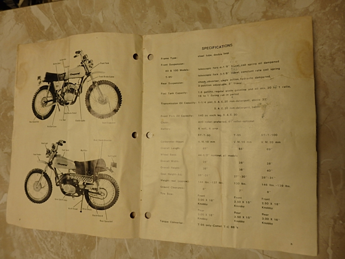 VINTAGE 1973 CHAPARRAL SPORTCYCLE OWNER'S MANUAL