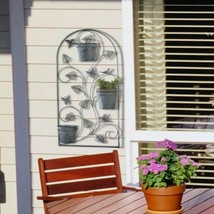 """Butterfly Wall Trellis w/ 3 Flower Pots in Distressed Gray Finish 26"""" High - $36.58"""