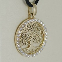 18K YELLOW GOLD TREE OF LIFE PENDANT, 0.75 INCHES, ZIRCONIA, MADE IN ITALY image 1