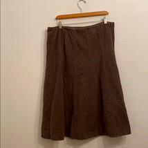J JILL SOLID BROWN SKIRT SIZE LARGE - $24.75