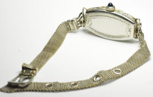 "Antique 18K White Gold Vintage Cornavin Watch Diamonds Sapphires - Length 7"""