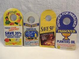 Vintage 1980's Planters Peanut Mr Peanut Cardboard Oil Bottle Hangers Se... - $6.95