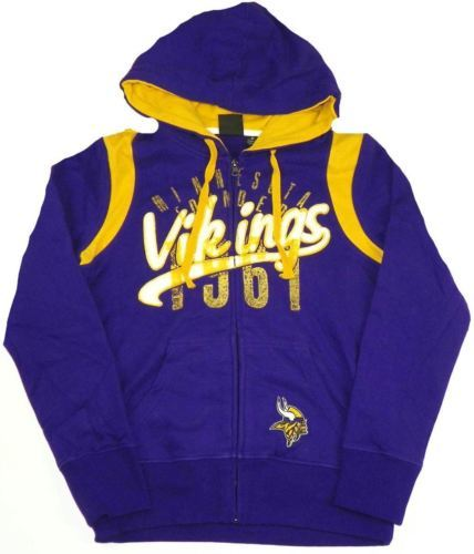 Medium Junior Women's Minnesota Vikings Hoodie NFL Elite Full Zip Sweatshirt