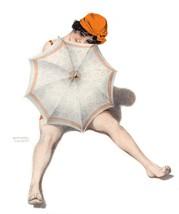 French Pinups: Brunette Girl On Beach w/ Umbrella - Kirchner - 1913 - $12.82+