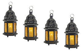 Four (4) hanging yellow glass moroccan metal candle holder patio table l... - $34.00