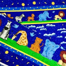 Zoo Animals Border Fabric Sun Moon Stars Clouds on Blue Fabric Tradition... - $4.50