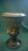 Estee Lauder Dark Green Grecian Style Ceramic Vase-Pretty - $7.50