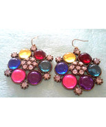 Vintage Colorful Cabochons Bold Large Pierced Earrings - $2.85