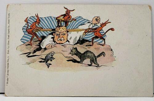 Write Away Series Devils Demons Sawing Their into Mans Head udb Odd Postcard E4