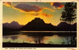 Linen Postcard -Wyoming WY -Evening -Mt Moran and Jackson Lake - $2.97