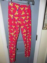 LuLaRoe Tween Pink Leggings With Hawaiian Birds Size Tween EUC - $18.17