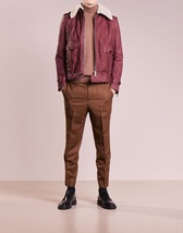 Men Fur Thulian Pink Leather Jacket Coat For Men - $190.00