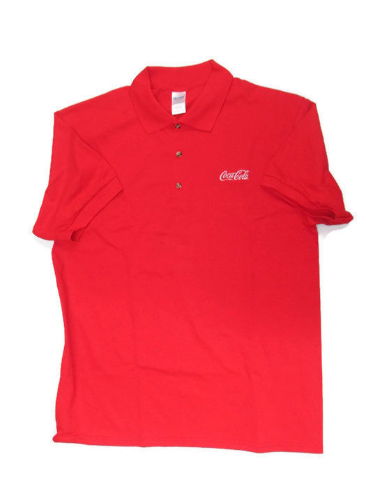Coca-Cola Red Polo Golf Shirt with Embroidered Logo 100% Cotton X-Large XL