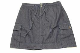 W13348 Womens Ann Taylor Loft Dark Blue Denim Cargo J EAN Skirt Cotton New Sz 4 - $30.89