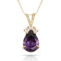 3.70 CT Amethyst Pear Shape 4 Stone Gemstone Pendant & Necklace14K Yello... - $153.45