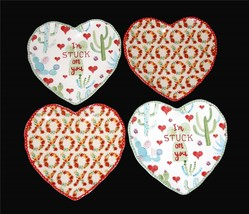 "4 222 ""I'm Stuck On You"" and ""XOXO"" Heart Shaped Scalloped Salad Plates NEW HTF! - $49.99"