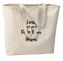 Coffee Beans and Grapes New Large Canvas Tote Bag Gifts Events Parties Wine - $19.99