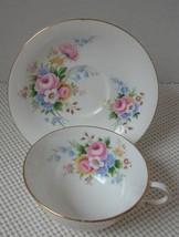 Vint ROSLYN Bone China TEA CUP & SAUCER - Pink Roses, Multicolor Floral ... - $15.51