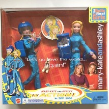 2002 Mary Kate and Ashley in Action Doll Set w Dog Parachute SPF 5000 TV... - $41.00