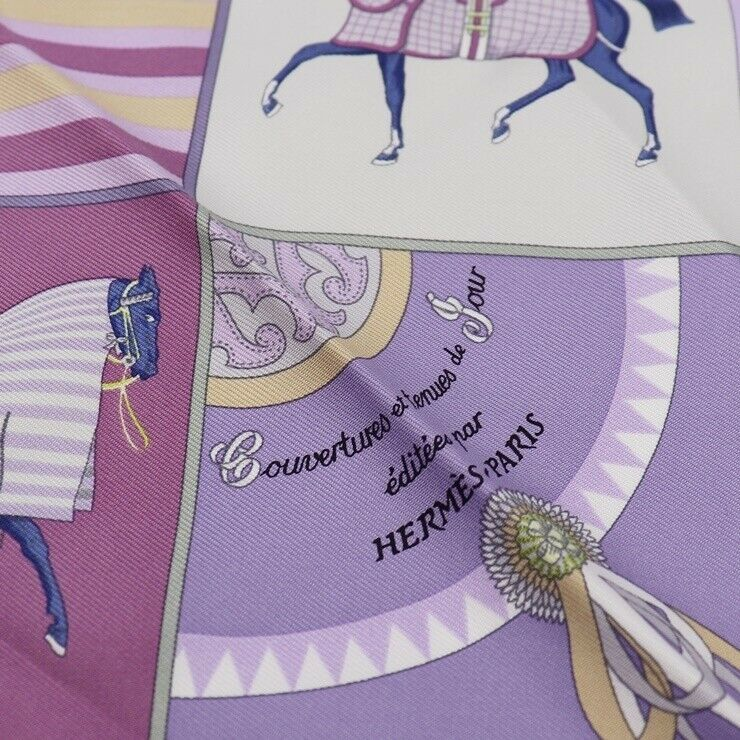 Hermes Carre 45 scarf silk pink purple Ladies Auth
