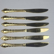 """Rogers Korea Gold Plated Ornate Stainless Flatware 6 Knives lot 9"""" - $19.99"""