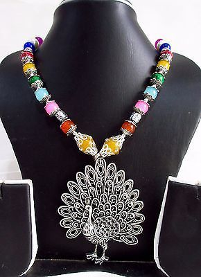 Indian Bollywood Oxidized Figure Pendant Pearls Necklace Women's Fashion Jewelry image 2
