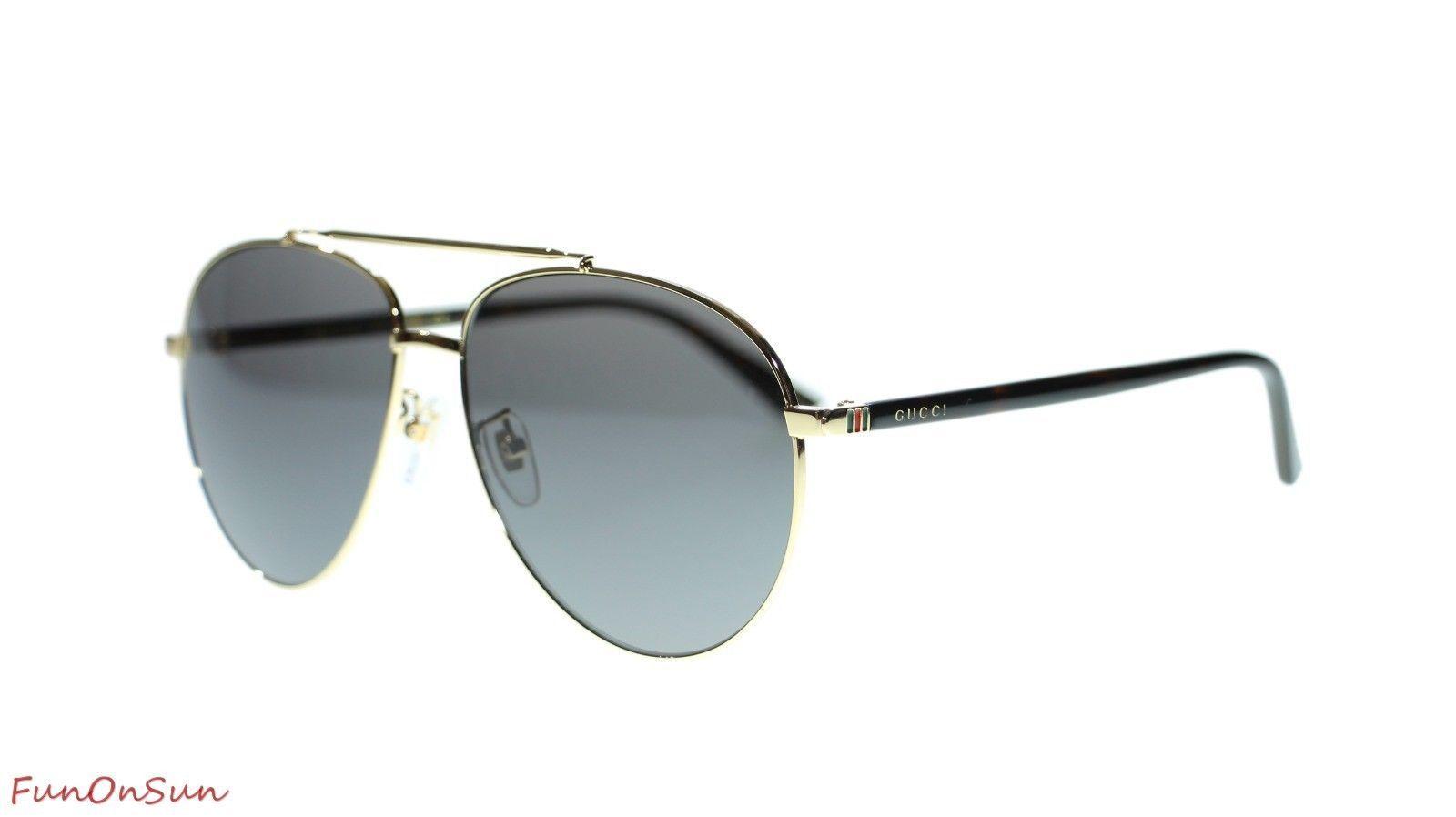 6002eecedca2a 10. 10. Previous. NEW Gucci Men s Sunglasses GG0043SA 002 Gold Havana Grey  Lens 61mm