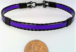 Purple Anodized Aluminum Black Copper Wire Wrap Bracelet 9 - $13.00