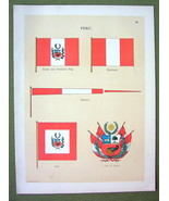 FLAGS PERU Coat of Arms Pennant Naval Marine Ensign - 1899 Color Antique... - $9.79