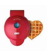 New Dash Mini 4 inch Christmas Red Love Heart Waffle Maker Electric - $18.76
