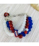 Stack Bracelet Red White Blue Bracelet 3 Strand Silver Tone Patriotic Be... - $29.69