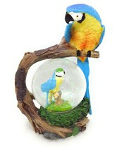 Macaw Parrot Snow Globe Figurine Wood Perch Gift Home Decor GSC 28089 - $10.62