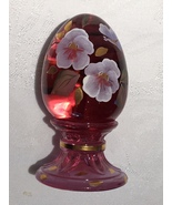 Fenton Ruby Red Egg with Beautiful Hand Painted Flowers Limited Edition - $30.00