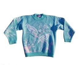 Vintage fairy kei fashion kawaii Knit Pastel Green Sweater Birds Parrot'... - $78.21