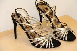 NIB Sam Edelman HARLETTE Leather Sandals High Heels Sz 8.5 M Black Silver - $33.68
