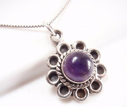 Amethyst 925 Sterling Silver Pendant with Rope Style Accent Perimeter Blue New - $17.77
