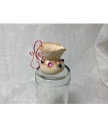 Miniature Vase Pitcher Hand Fabricated Polymer Clay Rose Gold Wire Handl... - $18.00