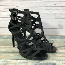 Vince Camuto Women's Sz 9 Strapy Sandals Heel Glitter Black Leather Ankle Zip - $32.69