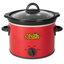 Taco Tuesday TTRDP2RD 2-Quart Fiesta Slow Cooker With Tempered Glass Lid... - $37.96