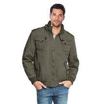 Maximos Men's Hooded Multi Pocket Sherpa Lined Bomber Jacket Sahara-03 (Small, O