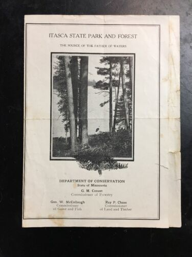 old Itasca State Park & Forest history Rules brochure MN dept of conversation