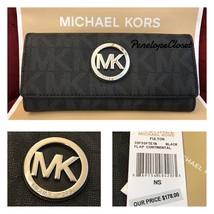 NWT MICHAEL KORS PVC SIGNATURE FULTON FLAP CONTINENTAL WALLET IN BLACK - $79.88