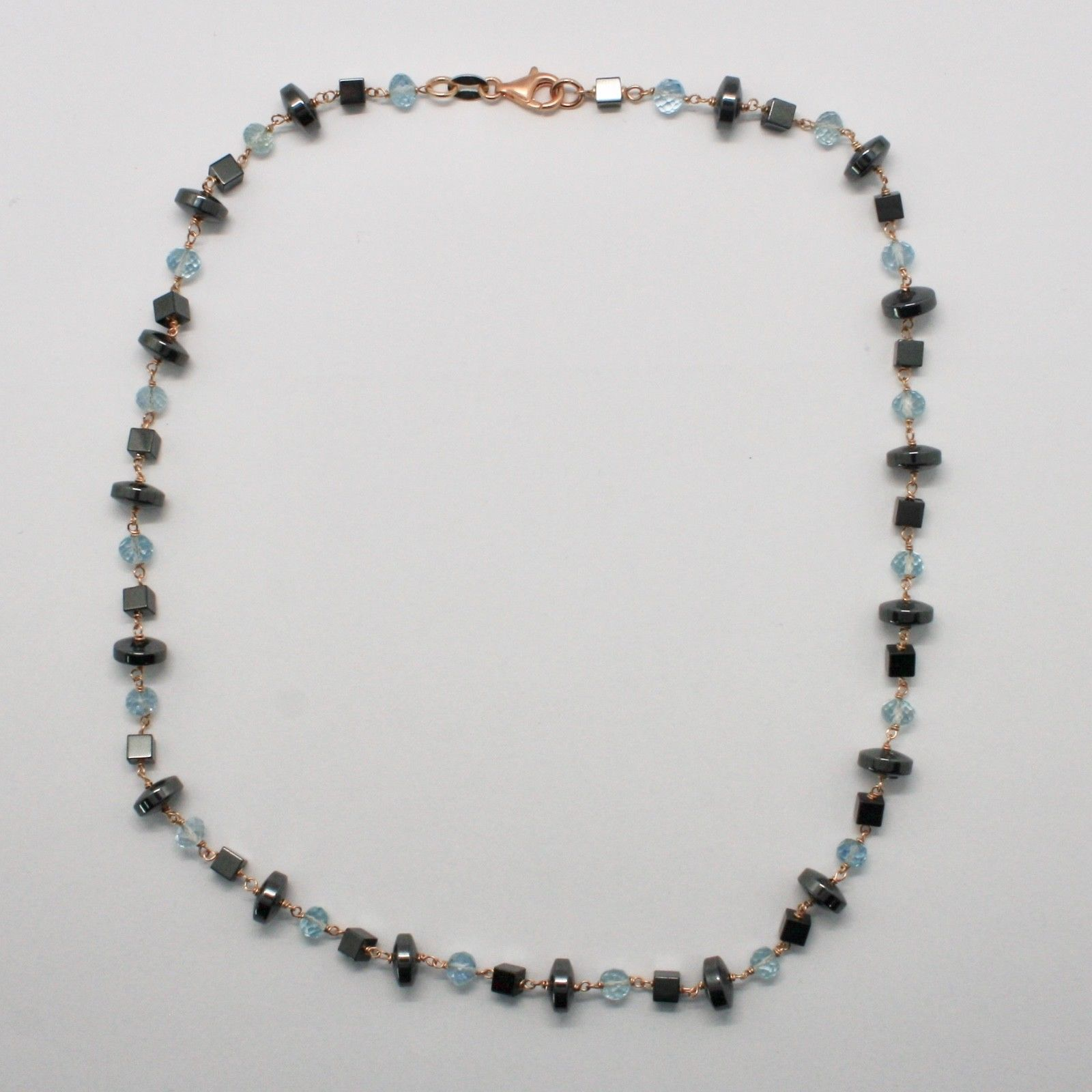 925 STERLING SILVER NECKLACE WITH AQUAMARINE AND HEMATITE MADE IN ITALY