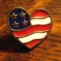 Avon Heart America Flag Lapel Pin - Vintage 2001 USA Valentine's Day Gold Brooch - $19.79