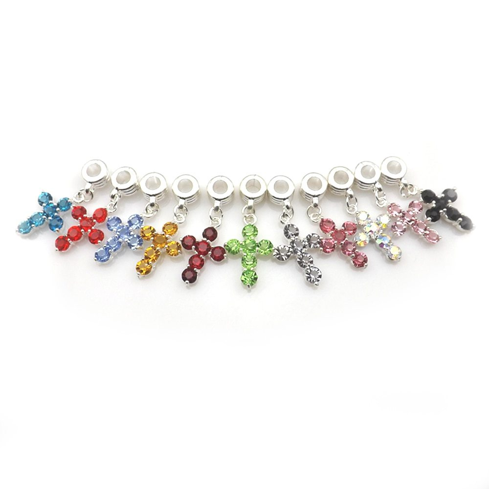 Hion crystal crosses necklace pendant european style multicolor rhinestone charm for snake chain