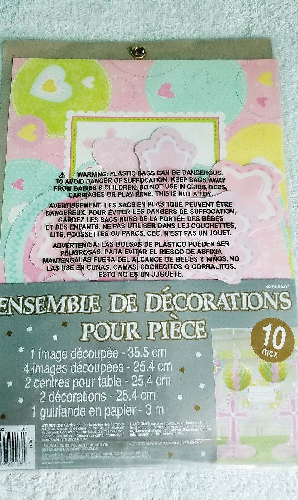 Christening 10 Piece Room Decorating Kit, Pink - New / Sealed