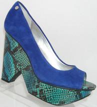 Calvin Klein 'Kainen' blue suede peep toe slip on platform wedge heel 7M - $23.95