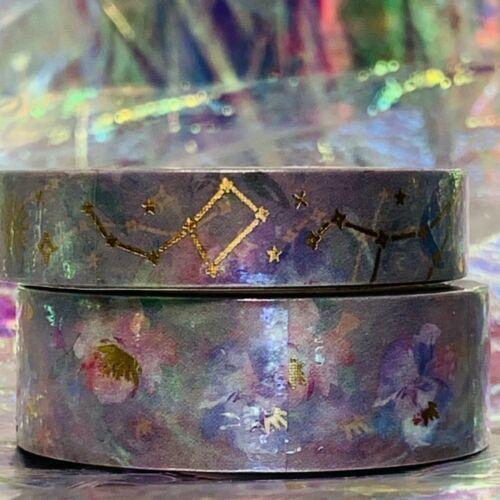SEALED Papergeek Paper Geek 2x Blue Floral Constellation Washi Tape 33' Each