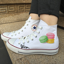 Macaron Design Shoes White Canvas High Top Converse All Star Chuck Sneakers - $119.00