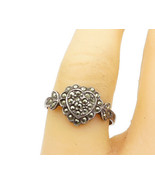 925 Sterling Silver - Vintage Marcasite Love Heart Band Ring Sz 6.5 - R1... - $23.29